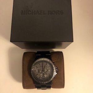 Black Chrome Michael Kors Watch